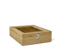 Tea box 9-compartments Bamboo with window