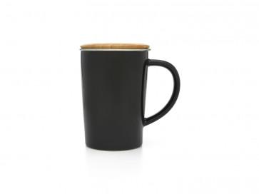 Tea Mug 400ml black + filter + bamboo lid