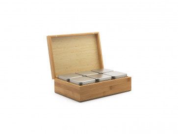 Tea box bamboo with 6 canisters