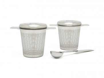 Two tea filters with tea measuring spoon