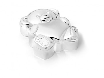 Tooth box Bear with heart silver colour
