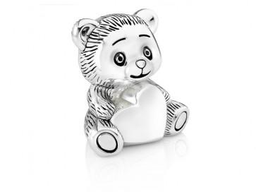 Money Box Bear with heart 8x7x12cm sp./lacq.