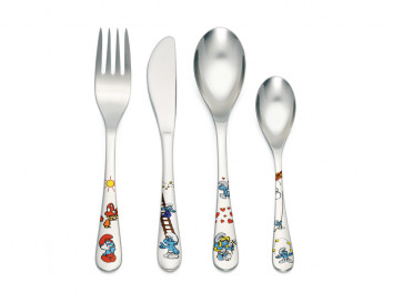 Children's cutlery 4-pcs The Smurfs, colour, stainless steel
