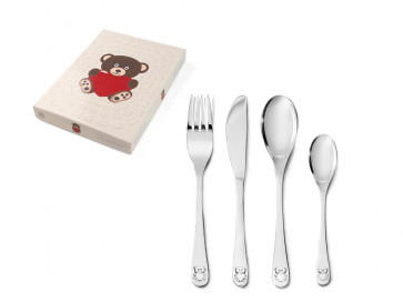Children's cutlery 4-pcs Bear w. heart s/s