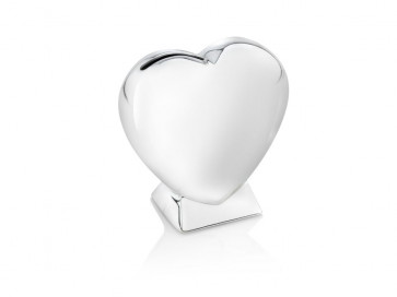 Money box Heart on base silver colour