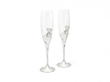Champagne glasses Heart s/2 silver colour