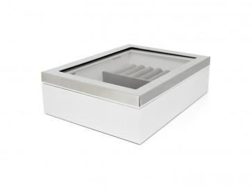 Jewelry box w. window + silver colour rim