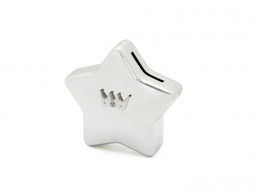 Star Money Box w/ Crown Icon Silver Plated w/ Lacquer