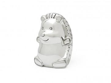 Hedgehog money box silver colour