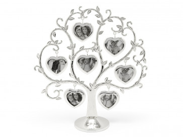 Family tree w/seven photos heart silverpl.lacq.