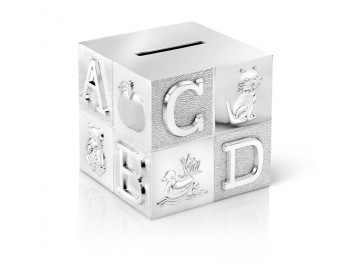 Money box Cube 7.5x7.5x7.5cm silver colour