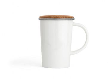 Tea Mug 400ml + filter + lid white