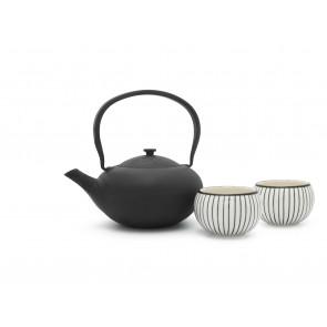 Gift set Shanxi, black, with 2 porcelain mugs