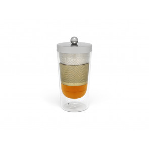 Tea for one Lucca glass with stainless steel filter and lid