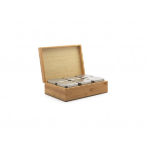 Tea box Bamboo with canisters, set of 6
