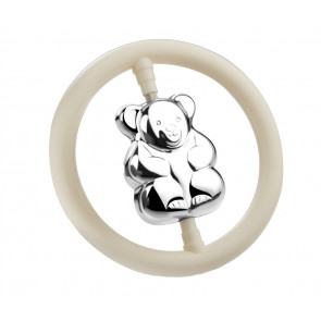 Rattle Bear on ring, silver-plated
