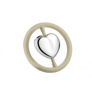 Rattle Heart on ring, silver-plated (B90)