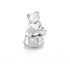 Music/Money box Bear with heart silv. col.