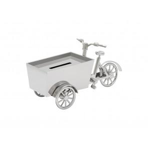 Money box Cargo bike silver colour
