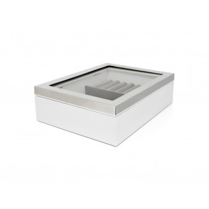 Jewelry box with window and silver colour border