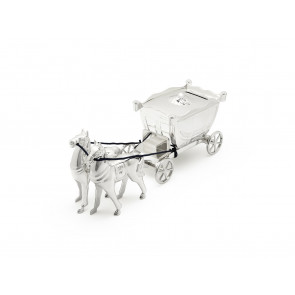 Money Box Horse & Carriage silverpl. lacq.