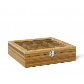 Tea box 12-comp. Bamboo with window